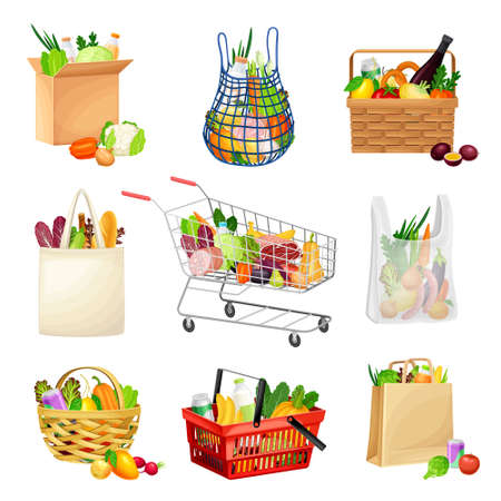 Grocery Bag and Basket Full of Food and Products from Market Vector Set Vetores