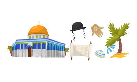 Dome of the Rock and Old Torah Scroll as Traditional Spiritual Symbol of Israel Culture Vector Set