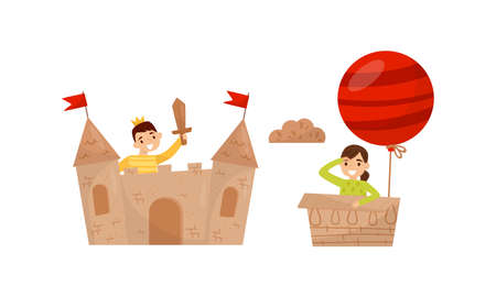 Active Children Playing in Cardboard Castle and Air Balloon Vector Set