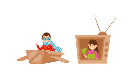Active Children Playing in Cardboard Airplane and Television Vector Set