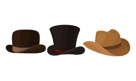 Wide-brimmed Stylish Male Headwear and Black Top Hat as Clothing Item Vector Set