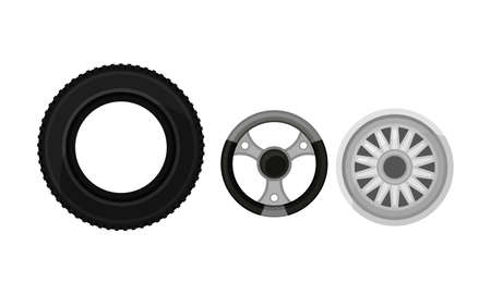 Car and Auto Spare Parts with Tyre Ring and Chromed Wheel Rim Vector Set Vettoriali