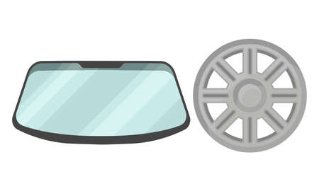 Car and Auto Spare Parts with Wind Screen and Wheel Rim Vector Set