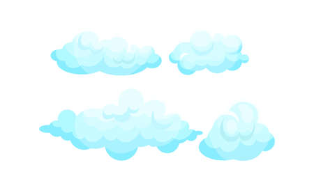 Soft Blue Clouds Suspended in the Atmosphere Vector Set Ilustração