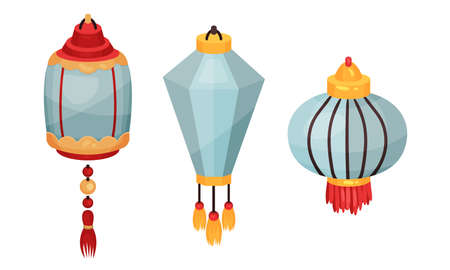 Chinese Lantern Made of Paper or Silk as Festive Luminaria Vector Set
