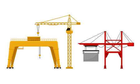 Crane as Machine for Lifting and Lowering Materials Vector Set