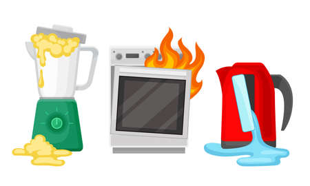 Broken and Damaged Home Appliances with Burnt Oven Vector Set