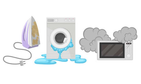 Broken Consumer Electronics with Washing Machine and Microwave Oven Vector Set
