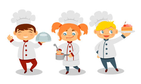 Cute Kids Chef in Hat Holding Soup and Cake Vector Set Çizim