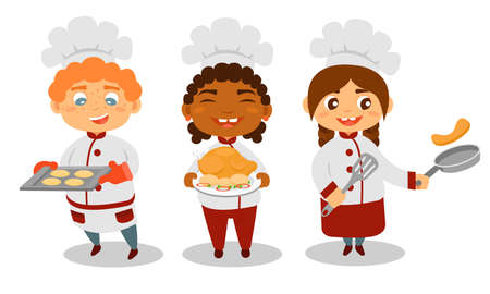 Cute Kids Chef in Hat Holding Roasted Chicken and Baked Cookies Vector Set Çizim