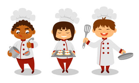 Cute Kids Chef in Hat Holding Soup and Baked Cookies on Sheet Pan Vector Set