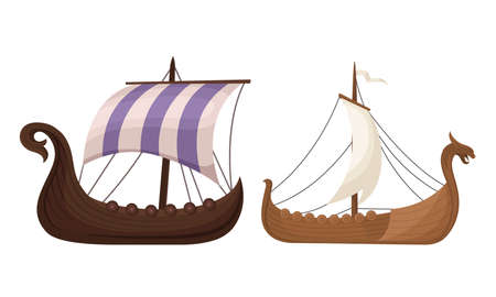 Viking Ship or Scandinavian Marine Vessels with Dragon Head Vector Set