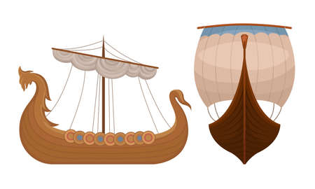 Scandinavian Marine Vessels or Viking Ship with Dragon Head Vector Set Stock Illustratie