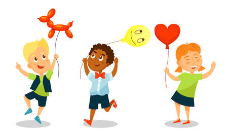 Kid Characters with Party Balloons Having Fun Vector Set Çizim