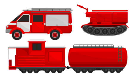 Firefighting Vehicles as Emergency Service for Fire Extinguishing Vector Set