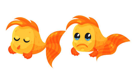 Funny Golden Fish Showing Different Emotions Vector Set