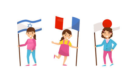 Little Girl Holding National Flags of Different Countries Waving on Pole Vector Set