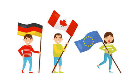 Little Girl and Boy Holding National Flags of Different Countries Waving on Pole Vector Set