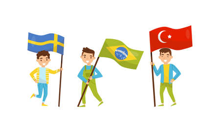Cute Boy Holding National Flags of Different Countries Waving on Pole Vector Set Çizim