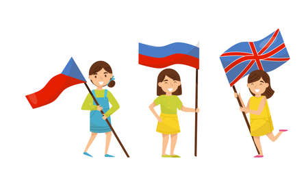 Cute Girl Holding National Flags of Different Countries Waving on Pole Vector Set
