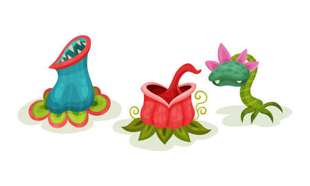 Carnivore Plants or Monster Flowers as Fantastic Flora Vector Set