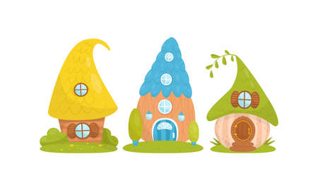 Small Fairytale Houses for Gnome or Dwarf Vector Set