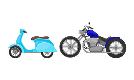 Motorcycle or Motorbike as Two-wheeled Motor Vehicle Side View Vector Set