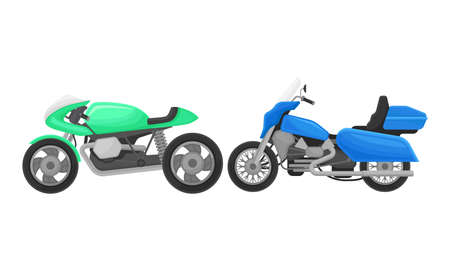 Sport Motorcycle or Motorbike as Two-wheeled Motor Vehicle Side View Vector Set