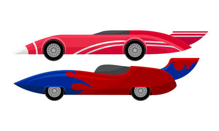 Customized Racing Sport Cars Side View Vector Set 矢量图像