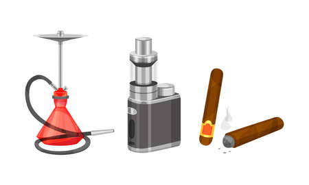 Cigarette with Tobacco and Hookah with Glass Water Basin Vector Set Ilustração