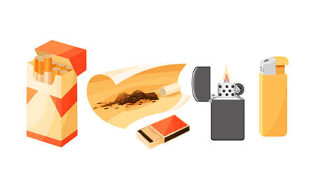 Packet of Cigarettes with Tobacco and Cigar Lighter Vector Set