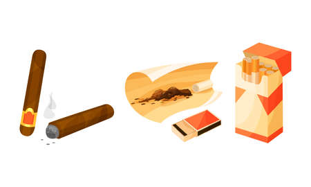 Packet of Cigarettes with Tobacco and Rolled Cigar Vector Set