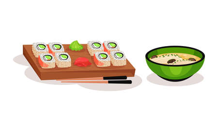 Sushi or Maki on Wooden Board with Chopsticks and Noodle in Bowl Vector Set