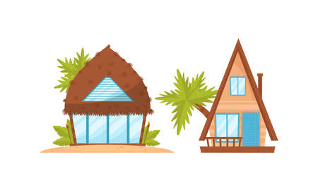 Summer Beach Houses Rested on Sand with Palm Trees Around Vector Set