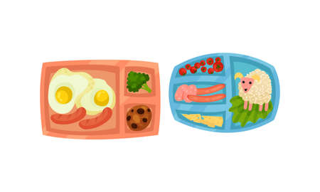 Sectioned Tray or Lunchbox with Food and Nutrition Vector Set