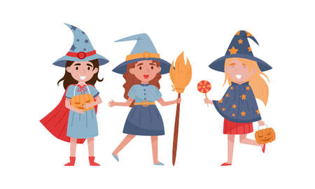 Little Girl Witch in Conical Hat Holding Broomstick and Pumpkin Vector Set