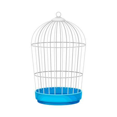 Metal Wire Cage for Pet Like Birds Vector Illustration