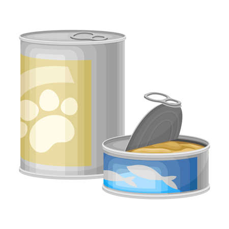 Can and Tin with Dog and Cat Food Vector Illustration Иллюстрация