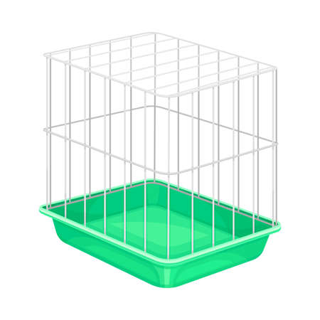 Metal Wire Cage for Pet Like Hamster Vector Illustration 向量圖像