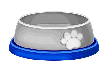 Grey Pet Bowl with Paw Print on It Vector Illustration