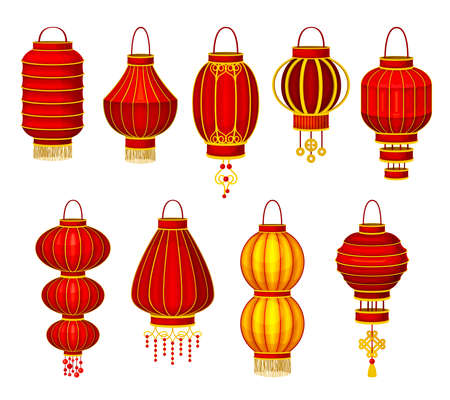 Chinese Lantern Made of Paper or Silk with Candle Inside Vector Set