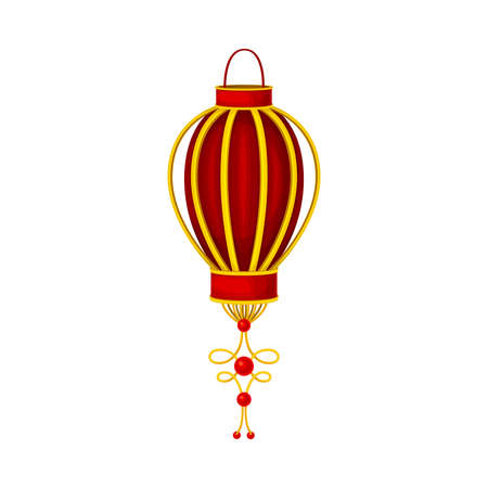Red Paper or Chinese Lantern with Golden Decoration Vector Illustration