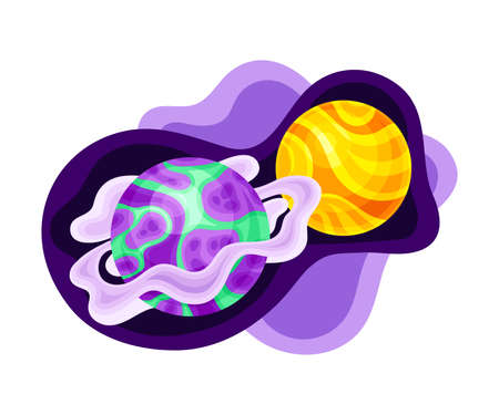 Fluid Purple Shape with Solar System Planet and Asteroid Vector Illustration