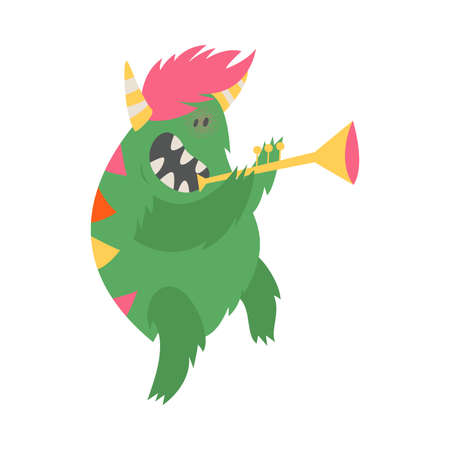 Comic Monster with Horns Playing Trumpet Vector Illustration