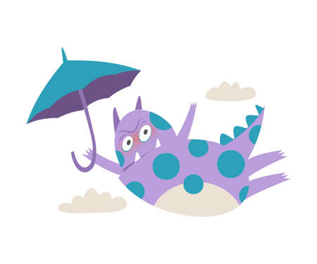 Frowning Comic Monster with Spotted Body and Horns Flying with Umbrella Vector Illustration