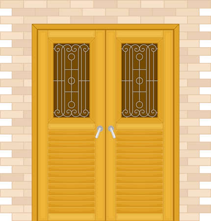 Double Door with Ornamental Window and Doorknob as Building Entrance Exterior Vector Illustration Ilustrace