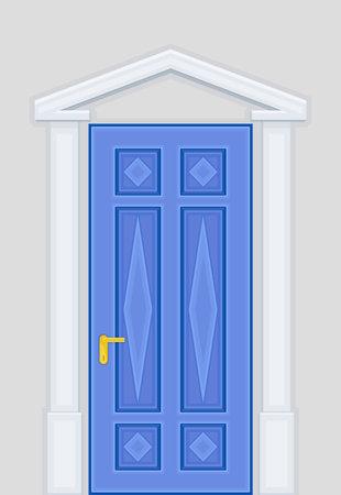 Blue Door Rhombus Ornate as Building Entrance Exterior Vector Illustration