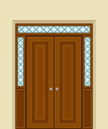 Wooden Double Door with Ornamental Side Window and Doorknob as Building Entrance Exterior Vector Illustration Ilustración de vector