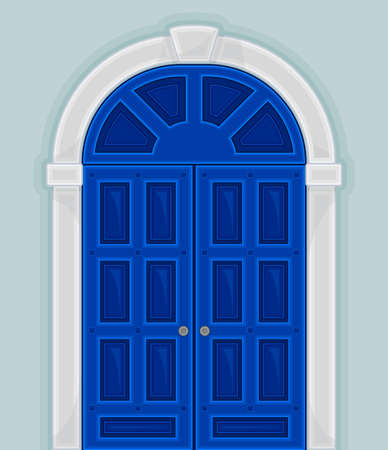 Arched Blue Double Door as Building Entrance Exterior Vector Illustration