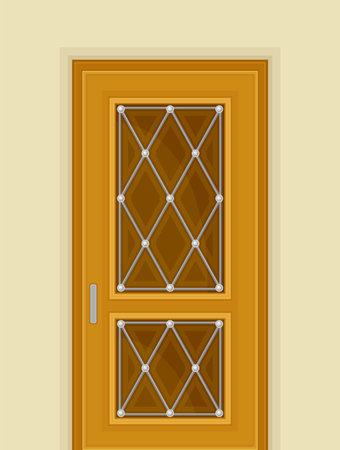 Wooden Door with Window and Rhombus Ornate as Building Entrance Exterior Vector Illustration Ilustración de vector